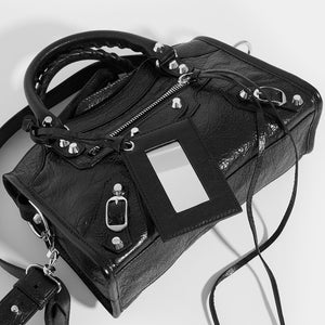 Top view of BALENCIAGA Mini City Bag With Silver Hardware in Black Leather
