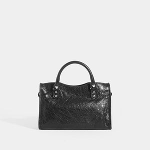 Back view of BALENCIAGA Mini City Bag With Silver Hardware in Black Leather