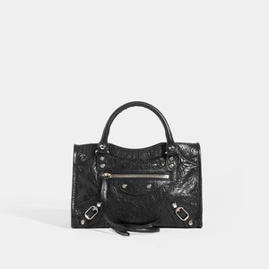 BALENCIAGA Mini City Bag With Silver Hardware in Black Leather