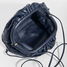 Load image into Gallery viewer, Inside of BOTTEGA VENETA Pouch 20 Intrecciato Crossbody in Deep blue Leather