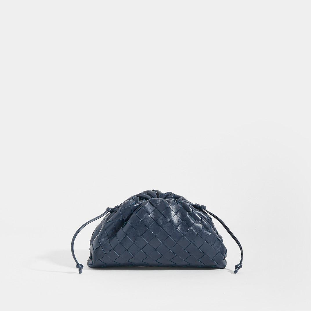 BOTTEGA VENETA Pouch 20 Intrecciato Crossbody in Deep blue Leather