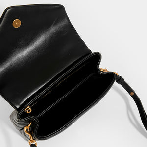 SAINT LAURENT Toy Loulou Shoulder Bag in Black Leather with Gold Hardware