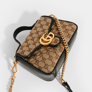 GUCCI GG Marmont Mini Top Handle Bag in Canvas