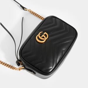 GUCCI GG Marmont Matelasse Mini Crossbody in Black