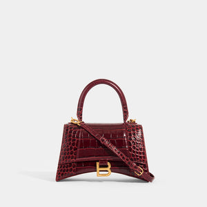 BALENCIAGA Hourglass S Embossed Croc in Burgundy