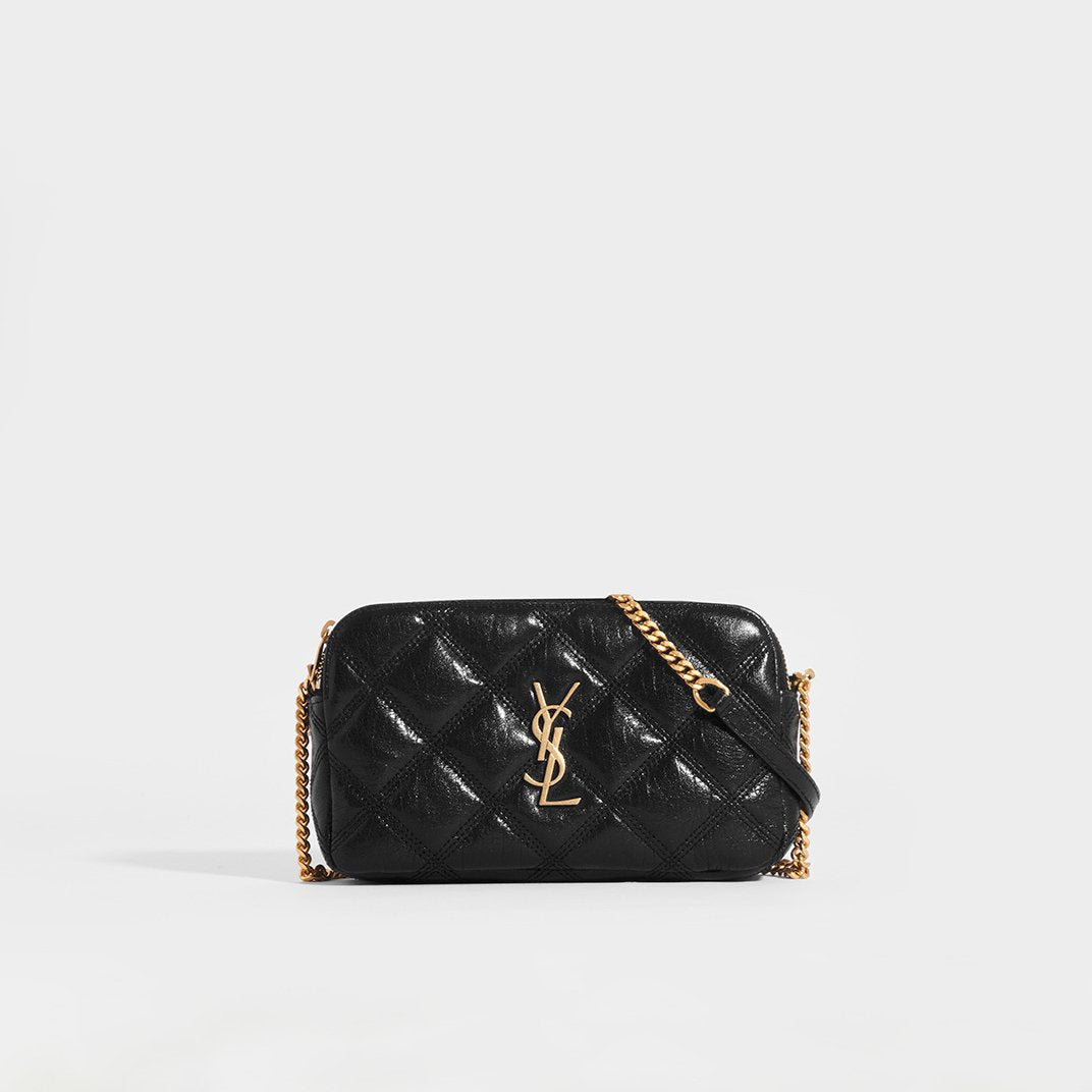 SAINT LAURENT Becky Quilted Leather Crossbody in Black Leather