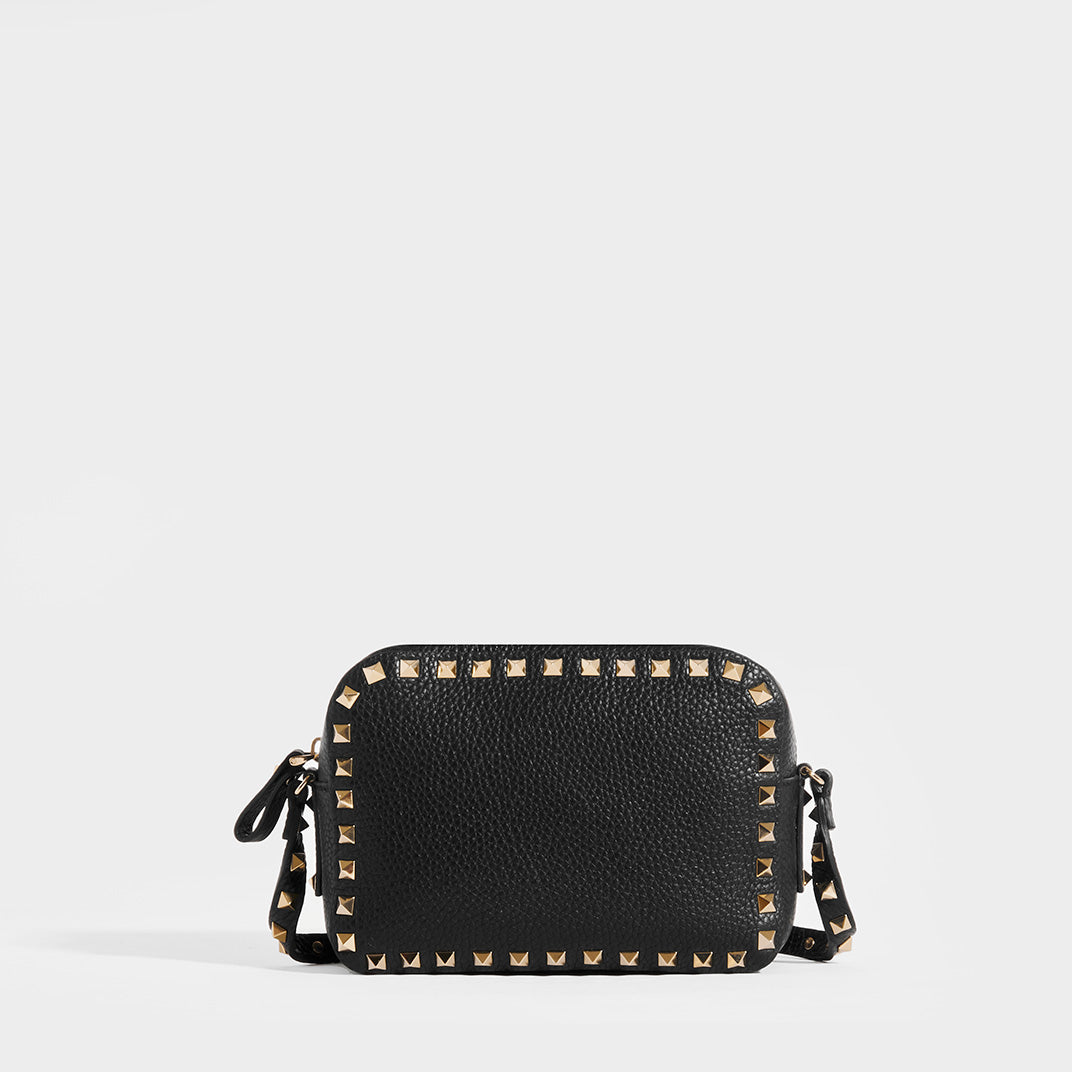 Back of VALENTINO Rockstud Leather Camera Bag in Black