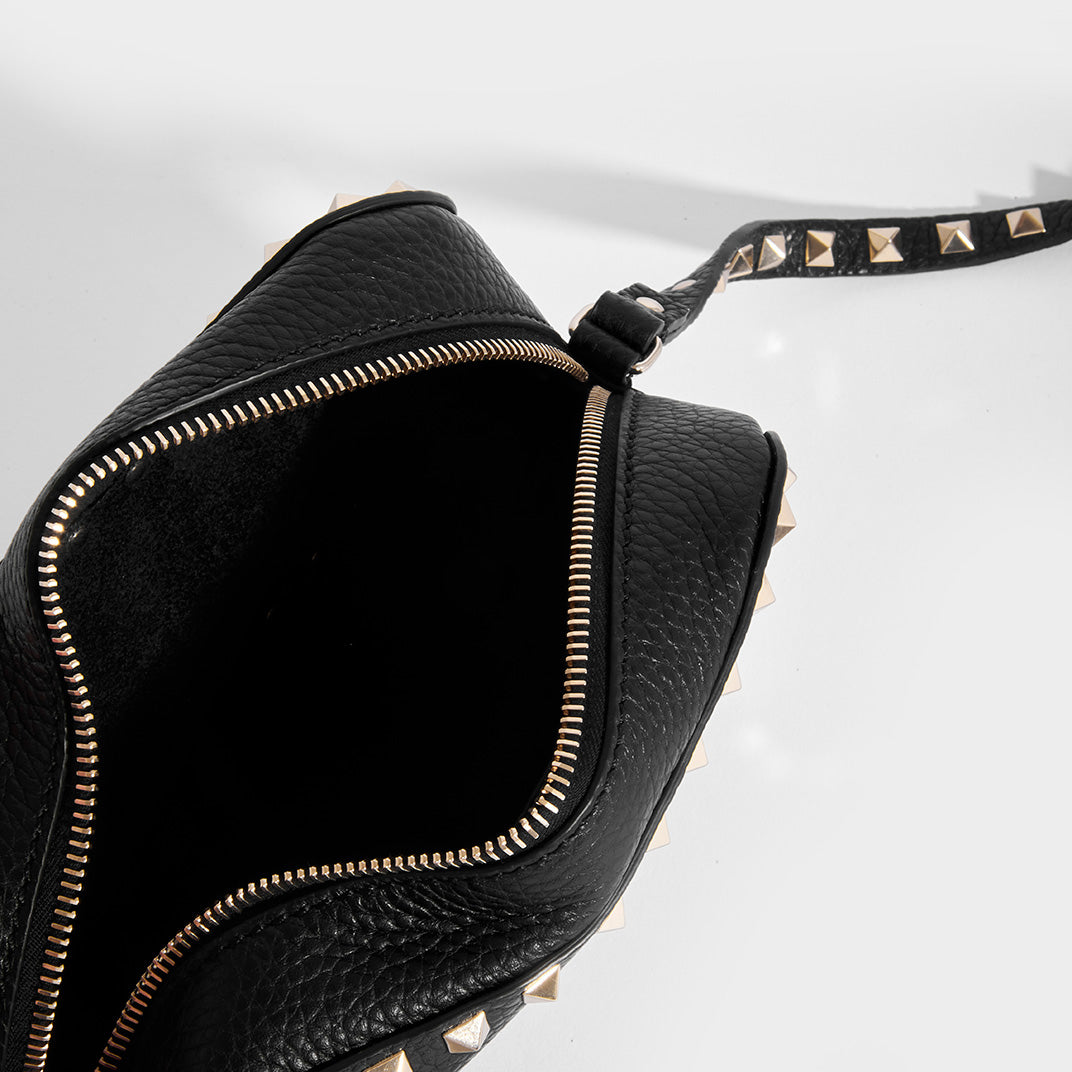 Inside of VALENTINO Rockstud Camera Bag in Black Leather