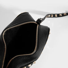 Load image into Gallery viewer, Inside of VALENTINO Rockstud Leather Camera Bag in Black