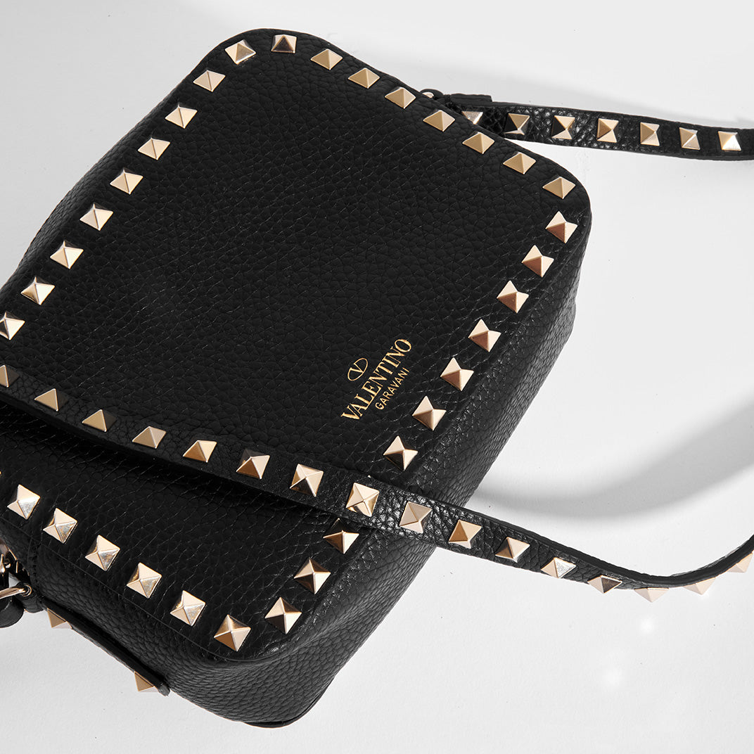 VALENTINO Rockstud Leather Camera Bag in Black Top View