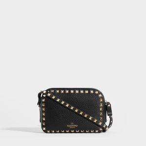 VALENTINO Rockstud Leather Camera Bag in Black