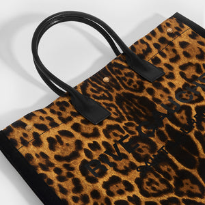 SAINT LAURENT Rive Gauche Tote Bag in Leopard Print