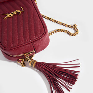 SAINT LAURENT Lou Small Quilted Crossbody in Red Leather