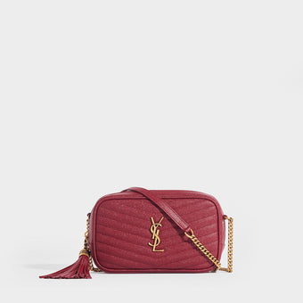 SAINT LAURENT Lou Small Quilted Crossbody in Red Leather With Gold Metal Shoulder Strap