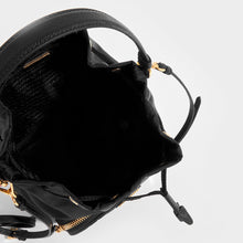 Load image into Gallery viewer, Inside View of PRADA Nylon Top Handle Drawstring Bucket Bag