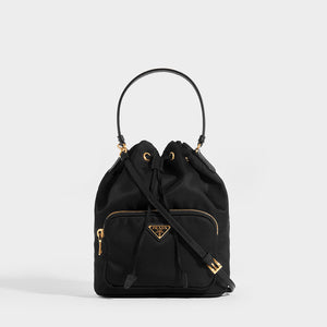 PRADA Nylon Top Handle Drawstring Bucket Bag