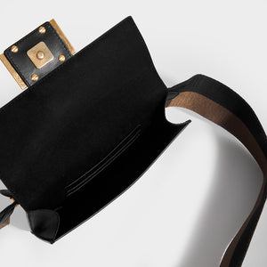 FENDI Flat Baguette Mini Crossbody in Black