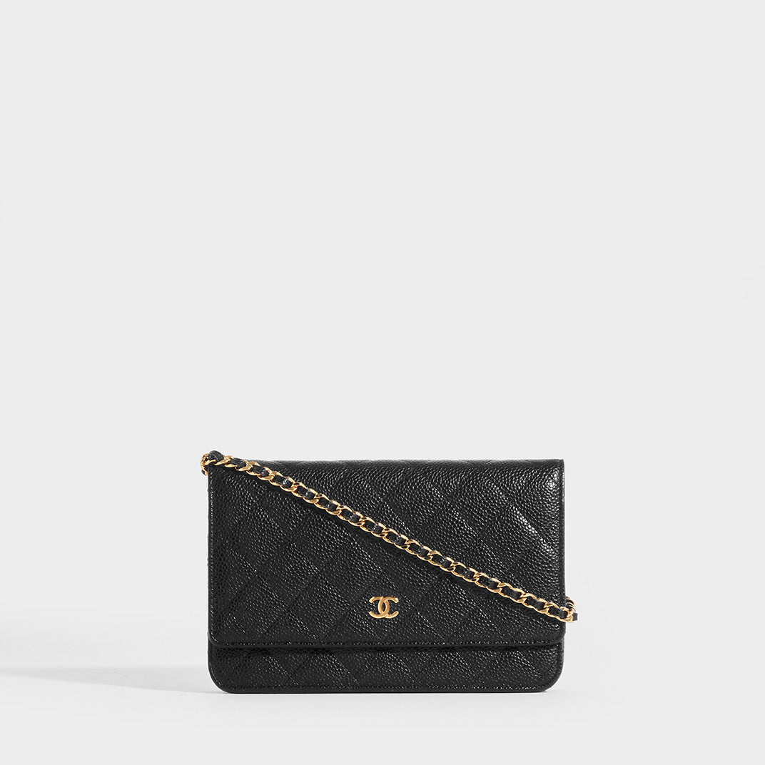 CHANEL Wallet on Chain Caviar Leather Crossbody in Black