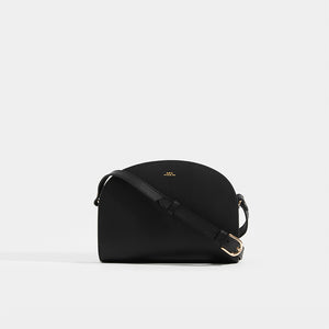 Black APC APC Half Moon Saffiano Leather Crossbody with strap