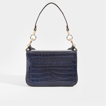 Load image into Gallery viewer, Rear view of CHLOÉ C Double Carry Shoulder Bag in Navy Croc Effect Leather