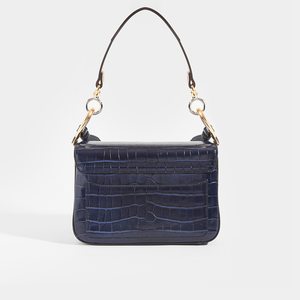 Rear view of CHLOÉ C Double Carry Shoulder Bag in Navy Croc Effect Leather