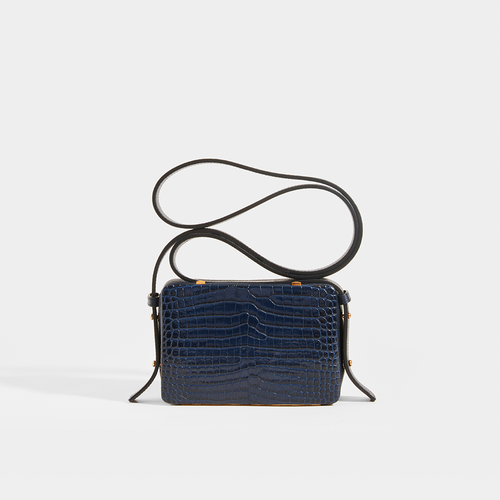 LUTZ MORRIS Maya Medium Crossbody Bag in Navy Croc Embossed Leather