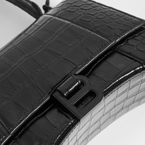 BALENCIAGA Hourglass Croc-Embossed Top Handle Bag in Black - Close Up