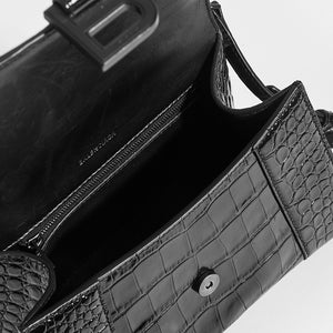 BALENCIAGA Hourglass Croc-Embossed Top Handle Bag in Black - Interior View