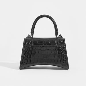 BALENCIAGA Hourglass Croc-Embossed Top Handle Bag in Black - Rear View