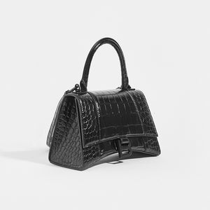 BALENCIAGA Hourglass Croc-Embossed Top Handle Bag in Black - Side View