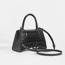 Load image into Gallery viewer, BALENCIAGA Hourglass Croc-Embossed Top Handle Bag in Black - Side View with Strap