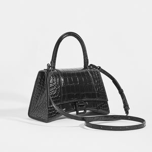BALENCIAGA Hourglass Croc-Embossed Top Handle Bag in Black - Side View with Strap