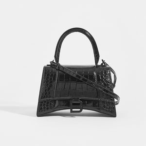 BALENCIAGA Hourglass Croc-Embossed Top Handle Bag in Black - Front View