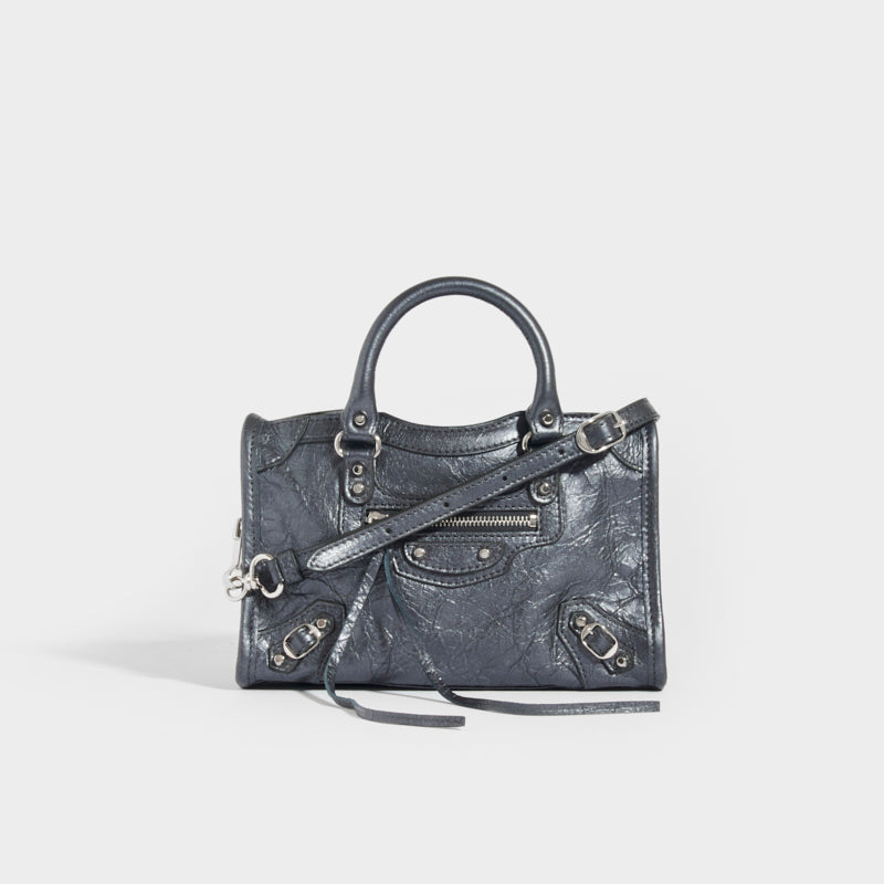 BALENCIAGA Neo Classic City Nano Leather Bag in Grey with top handles and shoulder strap