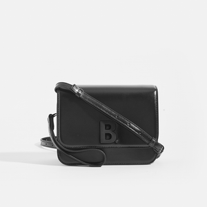 BALENCIAGA Small B. Bag in Black Shiny Calfskin