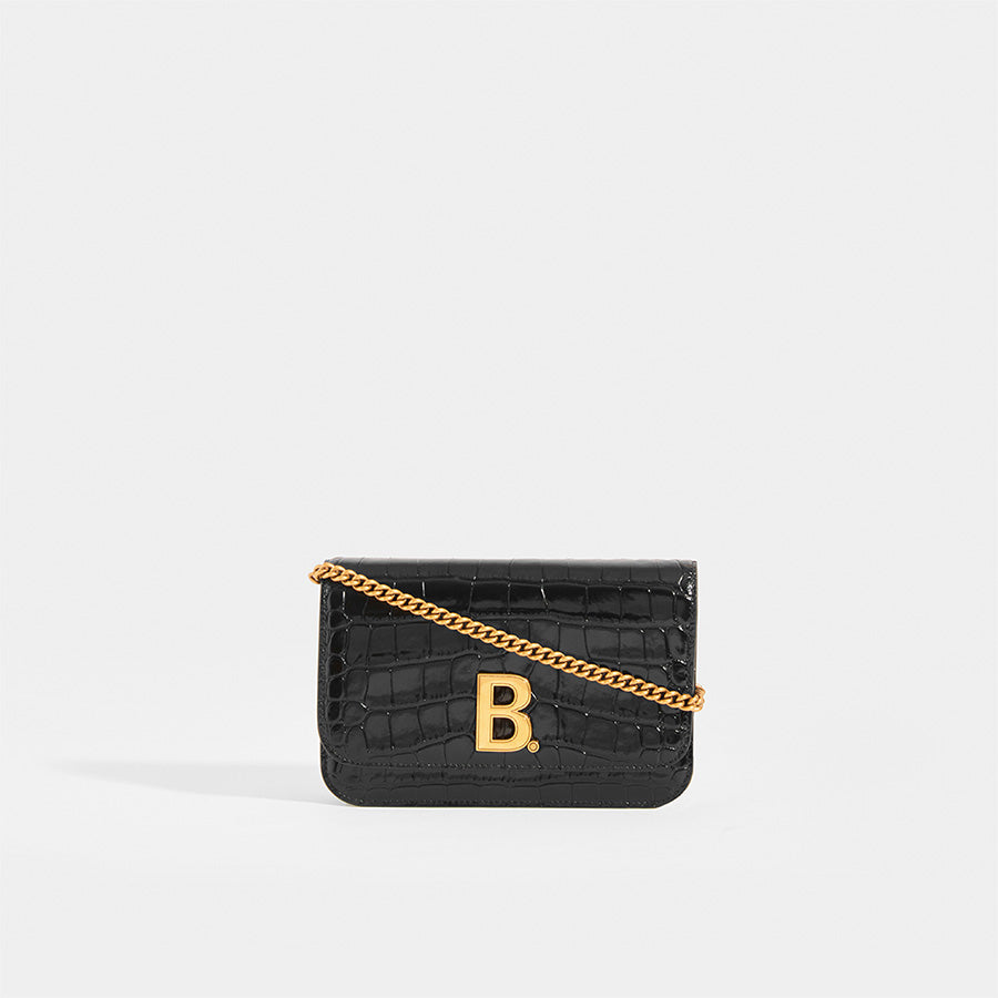 Front view of BALENCIAGA B-Logo Croc Effect Leather Crossbody with gold metal chain strap