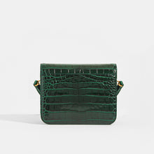 Load image into Gallery viewer, Back View of BALENCIAGA B Small Bag in Croc-Embossed Calfskin in Dark Green