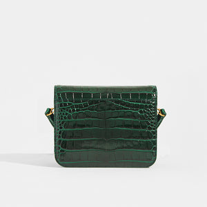 Back View of BALENCIAGA B Small Bag in Croc-Embossed Calfskin in Dark Green