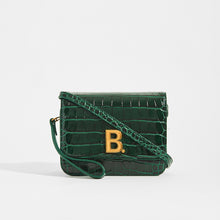 Load image into Gallery viewer, Dark Green BALENCIAGA B Small Bag in Croc-Embossed Calfskin