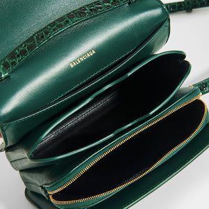 Inside of dark green BALENCIAGA B Small Bag in Croc-Embossed Calfskin