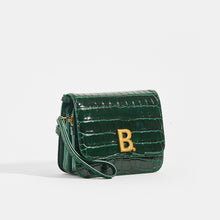 Load image into Gallery viewer, Side view of BALENCIAGA B Small Bag in Croc-Embossed Calfskin in Dark Green