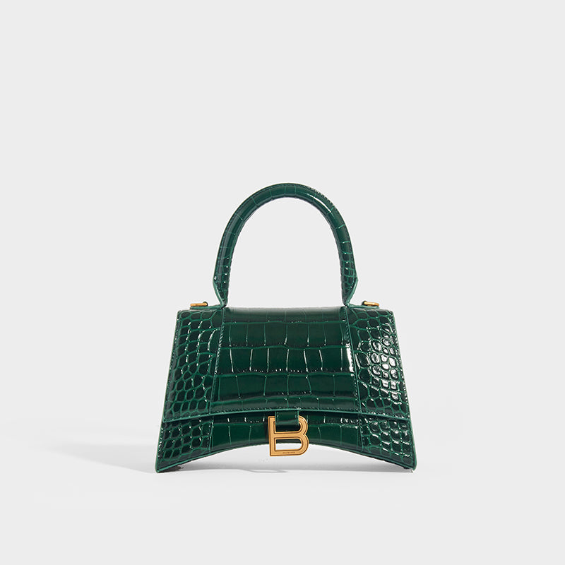 BALENCIAGA Hourglass Croc-Embossed Top Handle Bag