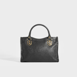 BALENCIAGA Mini City Bag With Gold Hardware in Black Leather