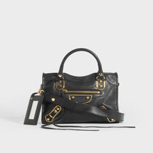 Load image into Gallery viewer, BALENCIAGA Mini City Bag With Gold Hardware in Black Leather with top handles and cross body strap - Front View