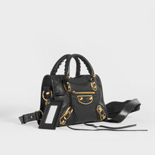 Load image into Gallery viewer, BALENCIAGA Mini City Bag With Gold Hardware in Black Leather side view