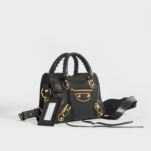 BALENCIAGA Mini City Bag With Gold Hardware in Black Leather side view