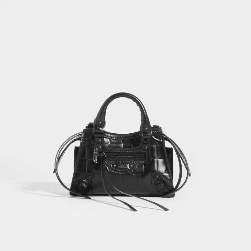 BALENCIAGA Neo Classic City Nano Crocodile-effect Leather Bag in Black with leather top handles and shoulder strap