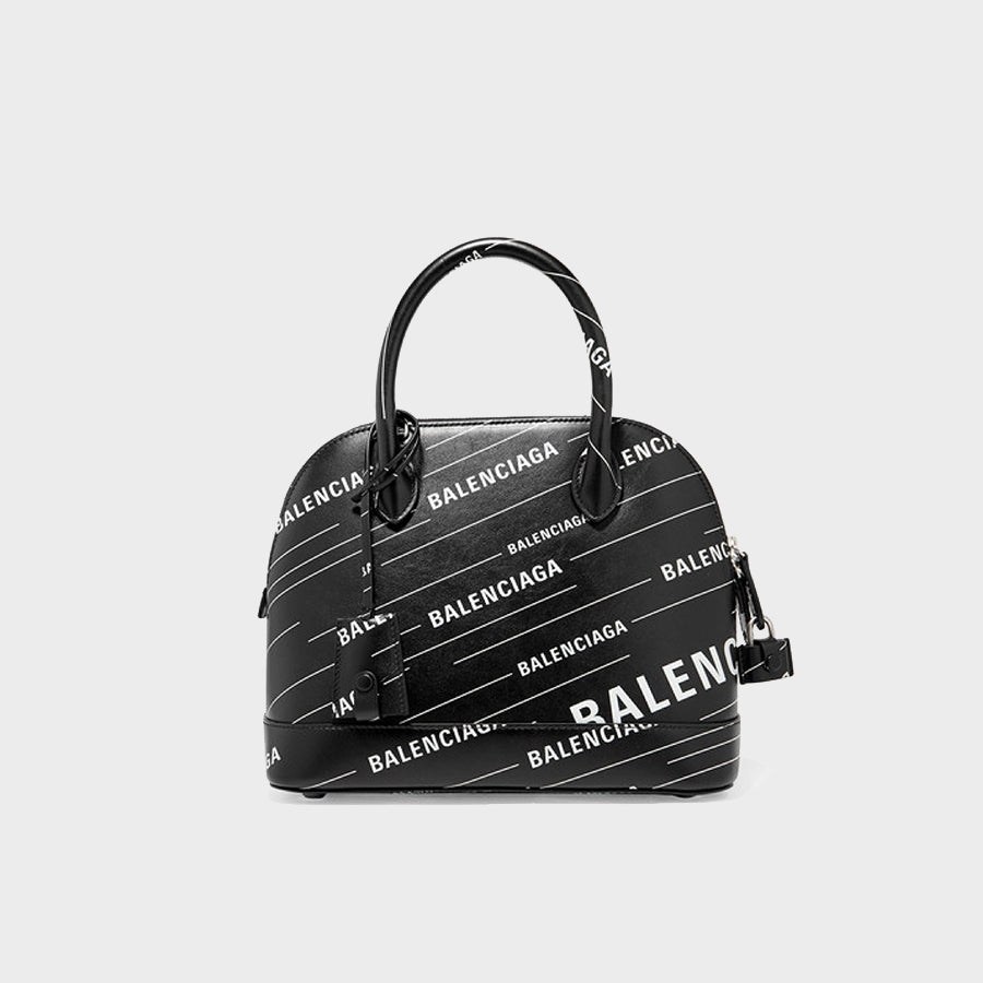 BALENCIAGA Ville Printed Leather Tote with white logo print on black leather
