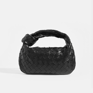 BOTTEGA VENETA Mini Jodie Top Handle Bag in Black Intrecciato Leather