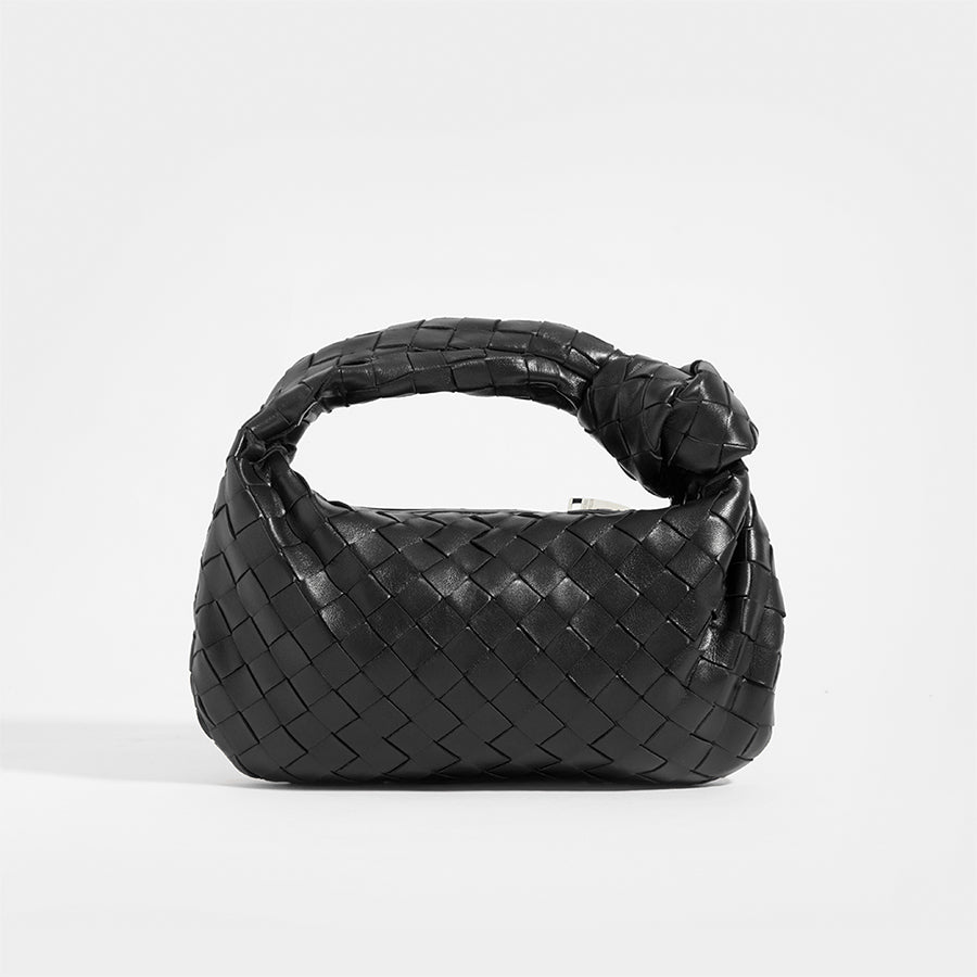 Front view of BOTTEGA VENETA Mini Jodie Top Handle Bag in Black Intrecciato Leather